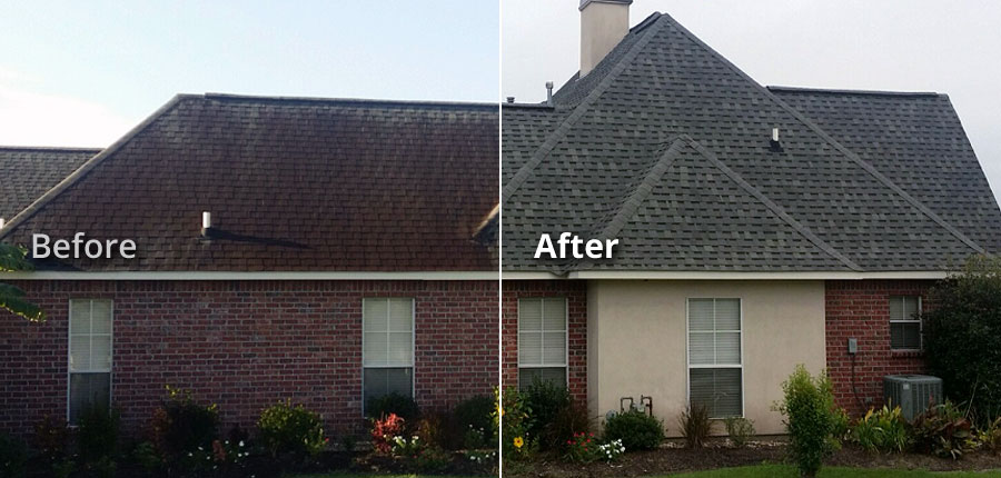 Baton Rouge LA Soft Wash Tile Shingle Roof Stain Removal Cleaning